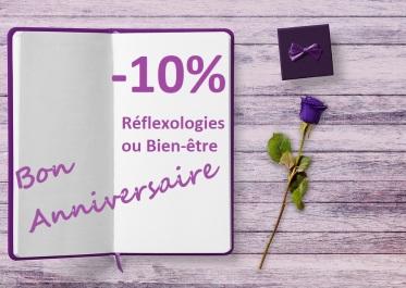 Flavie Dode Naturopathie Réflexologies Bien-être Offre anniversaire -10% sur soins de réflexologies ou de bien-être