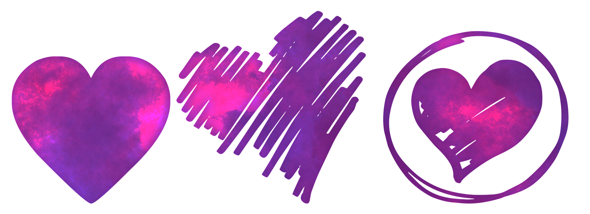 Flavie Dode énergie douce 3 coeurs amour rose bleu violet